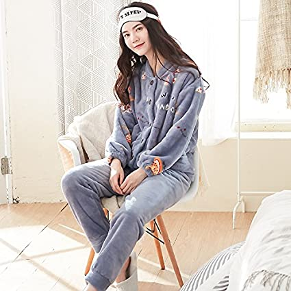 64216942f00b Amazon.com  MH-RITA Cashmere Pajamas in Winter with Thick Velvet and ...