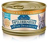 BLUE Wilderness Wild Delights Adult Grain Free Meaty Morsels Chicken & Turkey in Tasty Gravy Wet Cat Food 3-oz (pack of 24)
