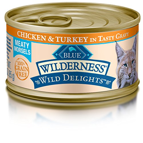 BLUE Wilderness Wild Delights Adult Grain Free Meaty Morsels Chicken & Turkey in Tasty Gravy Wet Cat Food 3-oz (pack of 24) (Love Some Cat Food)