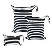 ALVABABY 3Pcs Diaper Wet Dry Bags/Travel Bags/Storage Bags/Cosmetic Bags /Handbags/Wash Bags Waterproof Reusable 3L-WB01