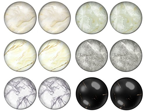LilMents 6 Pairs of Stone Marble Pebble Designs 10mm Unisex Mens Womens Stainless Steel Stud Earrings