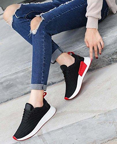 à Lacets Solide Chaussures Tricot de NEWCOLOR Respirant Couleur Femmes Occasionnels Chaussures Marche qPEEwv