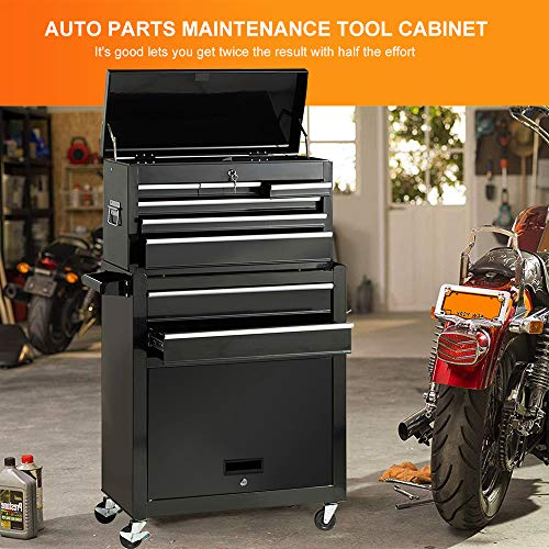 Portable Tool Storage Box 2 in 1 Rolling Tool Chest Removable Tool Storage Cabinet with Sliding Drawers Keyed Locking System Toolbox Organizer,Black by I-Choice (Image #4)