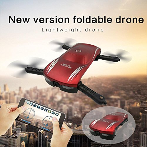 Price comparison product image Leewa X185 2.4G 4CH Altitude Hold 0.3MP HD Camera WIFI FPV RC Quadcopter,  Selfie Foldable Pocket Drone -Red