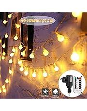 Guirnaldas Luces con Enchufe, GreenClick 13.3M 100 LED Guirnarldas Blancas Cálida Led Luces Impermeable Guirnaldas Luminosas Decoracion Exterior, Interior, Jardines, Casas, balcón