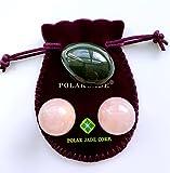 Polar Jade Nephrite Jade Egg and Rose Quartz Kegel Balls Bundle, for Kegel Exercises to Strengthen Pelvic Floor Muscles