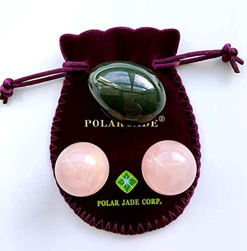 Nephrite Jade Egg and Rose Quartz Kegel Balls Bundle, for Kegel Exercises to Strengthen Pelvic Floor Muscles to Prevent Prolapse of Uterine and Bladder and Reduce Incontinence, Polar Jade