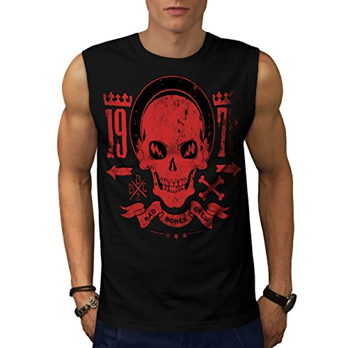[Bad Bones Crew Skull Gangster Men NEW S Sleeveless T-shirt | Wellcoda] (1940s Dance Costumes)