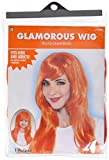 Amscan Perfect Team Spirit Glam Long Wig Accessory Synthetic Hair 25'' Costume Supplies (3), Orange, 3 Pieces