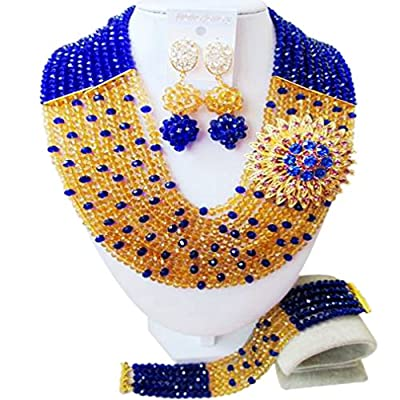 Wholesale laanc Fashion Nigerian Wedding African Beads 10 Rows Blue and Gold Champagne Jewellery sets
