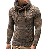 Nanquan Men Slim Patchwork Pullover Hooded Color Block Cable Knit Sweater Camel US 2XL