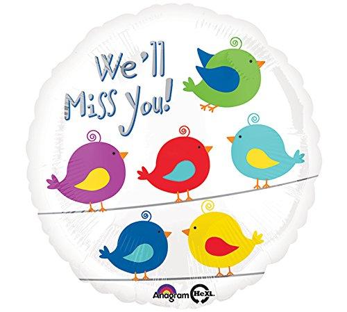 Burton & Burton We'll Miss You Bird Pattern Foil/Mylar Balloon