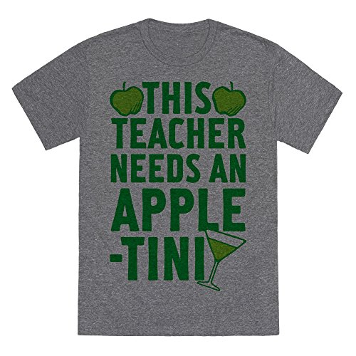 This Teacher Needs An Apple-Tini Heathered Gray Men's Heathered Tee by LookHUMAN](Apple Tini)