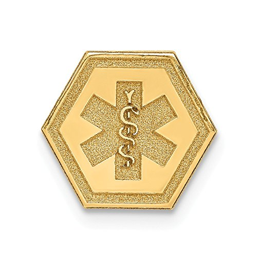 Solid 14k Yellow Gold Non-enameled Attachable Medical Emblem Pendant Charm (9mm x 10mm)