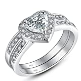 Mabella Cubic Zirconia Heart Promise Rings Wedding Band Engagement Ring Bridal Sets 925 Sterling Silver