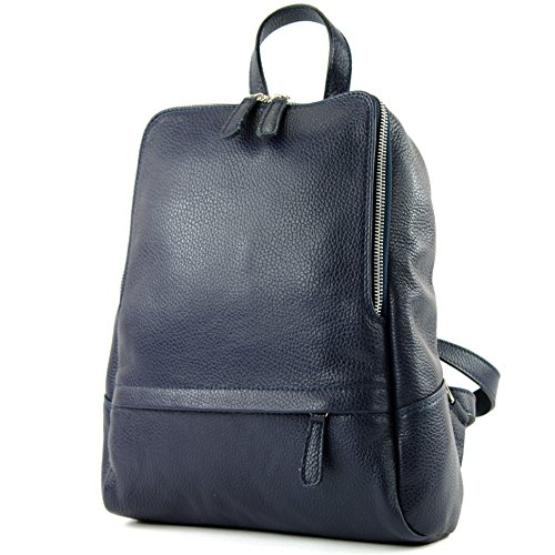 Blue Rucksack Leather Backpack Citybag T138 Bag ital de Ladies modamoda Leather Backpack Dark waC47qYx