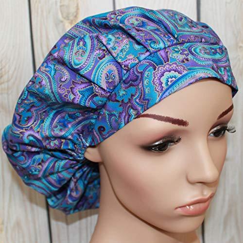 (Bouffant Scrub Hat, Purple & Blue Jewel Paisley, Surgical Scrub Hat, OR Scrub Hat, Scrub)