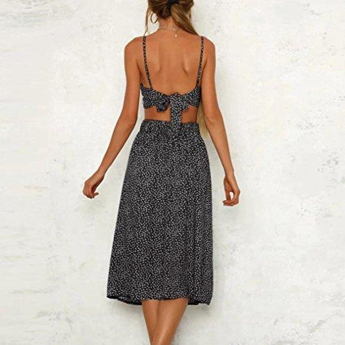 VENMO Sommerkleider Damen Frauen Sommer Boho Röcke Lange Abendkleid Strandkleid Sundress Black-b B8nL9D