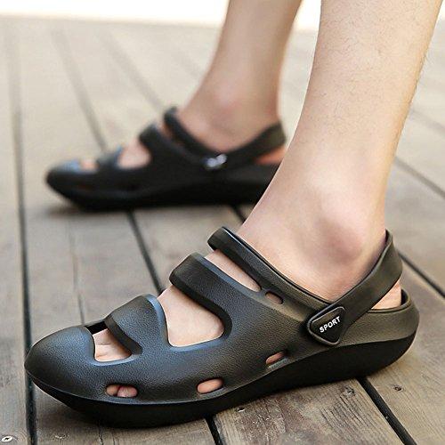 Gran Clásicas de Tamaño Grueso Verano Hombre Sandalias YWNC para de Zapatos Ligeros Playa Chanclas Antideslizante de Zapatos Agujero black con Fondo Zq5n4a