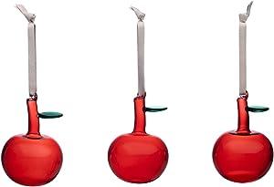 Iittala 2020 Oiva Toikka Glass Apple Ornaments, Set of 3