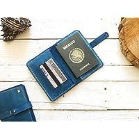Porta pasaporte 100% piel color azul viajes viajero