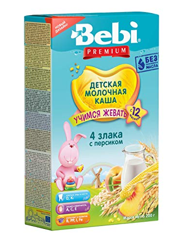 Bebi Milk Cereal for Babies 4 Cereals with Peach Learning to Chew from 12 months 7oz/200g from Europe