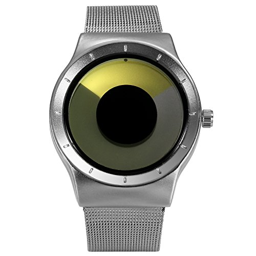 Yellow Dial - Lancardo Men's Original No Hands Swirl Dial Watch with Stainless Milanese Loop Woven Mesh Band (Yellow)
