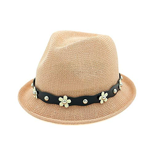 (Hat for Female Jazz Hat Summer Fashion Hat Spring Autumn Flowers Beaded British Casual Straw Hat Sun Hat Cap for Women (Color : Pink, Size : 56-58CM))