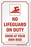 No Lifeguard On Duty Swim At Your Own Risk Sign, 18'' x 12''