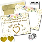 Wedding Proposal Gold Floral Premium Cards 6 Pack | for The Bridal Party Bridesmaid Groomsmen | 1 x 1 inch Off The Market Pin