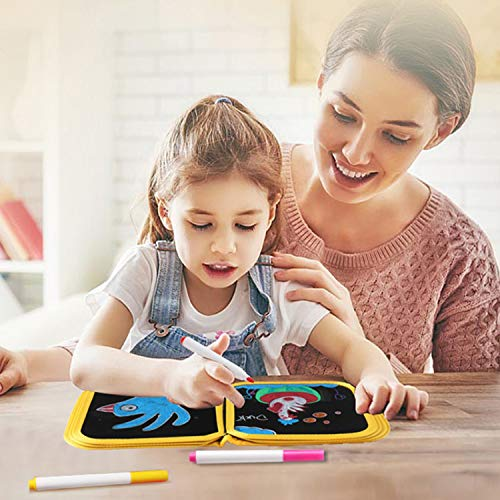 Drawing Board Graffiti Board for Kids, Erasable Portable Double-Sided Available Small Blackboard 12 Colored erasable pens, 8×8 inches 14 Pages(Yellow)