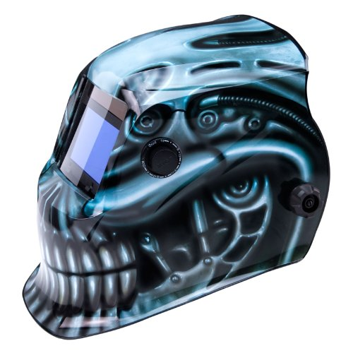 True-Fusion™ BioMech IQ1700 Solar Powered Auto-Darkening Welding Helmet/Grind mask with FREE Storage Bag, Spare Lenses and Spare Sweatband included by True-Fusion