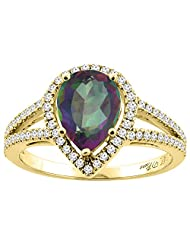 14K Gold Natural Mystic Topaz Ring Pear Shape 9x7 mm Diamond Accents, sizes 5 - 10
