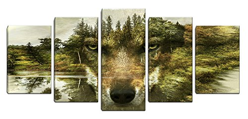 Frame Wolf Photo - 5 Panels Animal Painting Picture Wolf Canvas Print Wall Art Printed on Canvas Framed for Living Room Bathroom Bedroom Office Decor (Green)