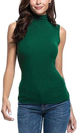Top Moda Camiseta Mujer Sin Sencilla Mangas Sólido Slim Fit ...