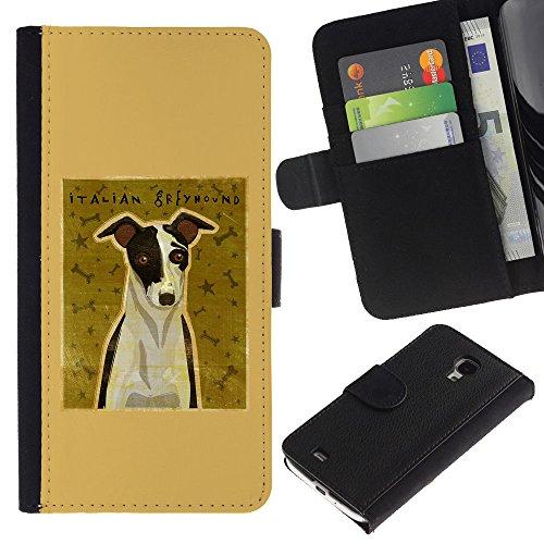 EuroCase - Samsung Galaxy S4 Mini i9190 MINI VERSION! - italian greyhound art poster dog small - Cuero PU Delgado caso cubierta Shell Armor Funda Case Cover