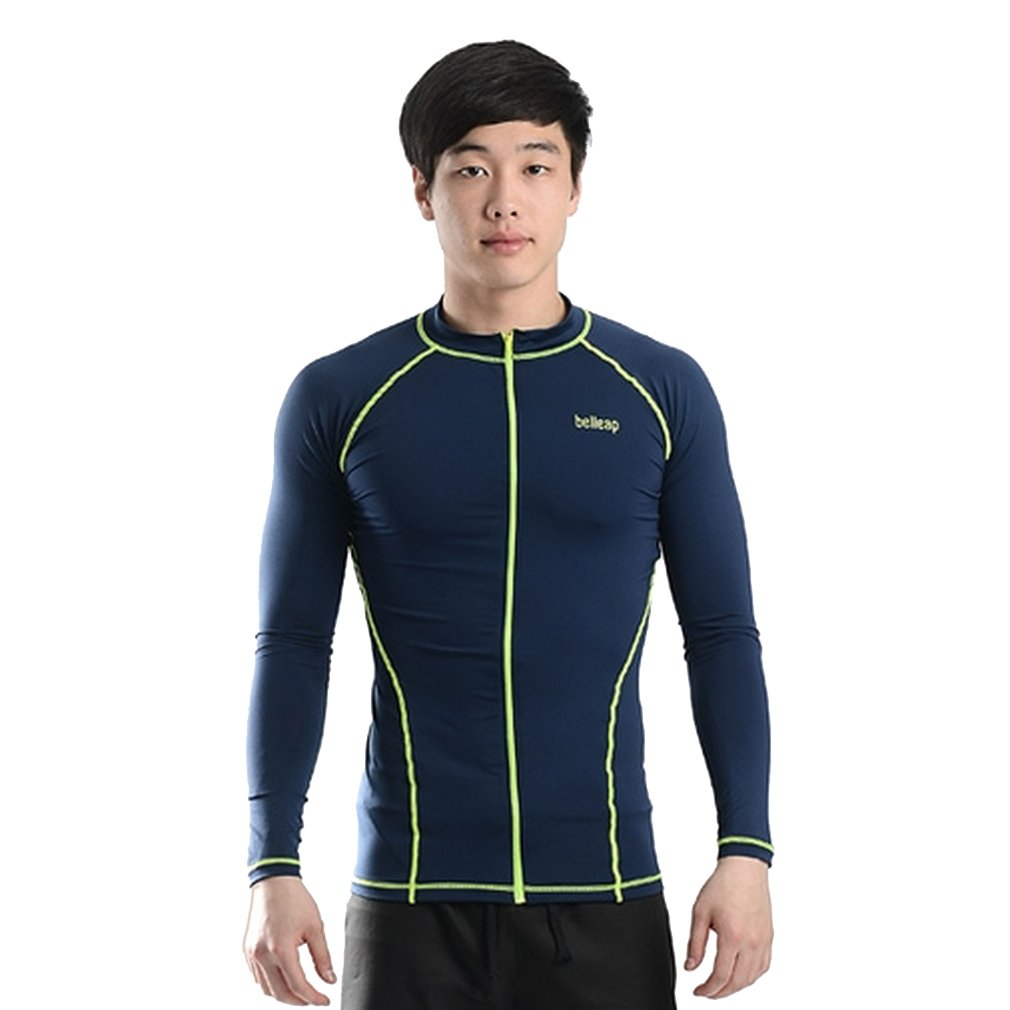 belleap UV Protection Men's Compression Long Sleeve Zip up Track jacket Sportswear X-Large Navy