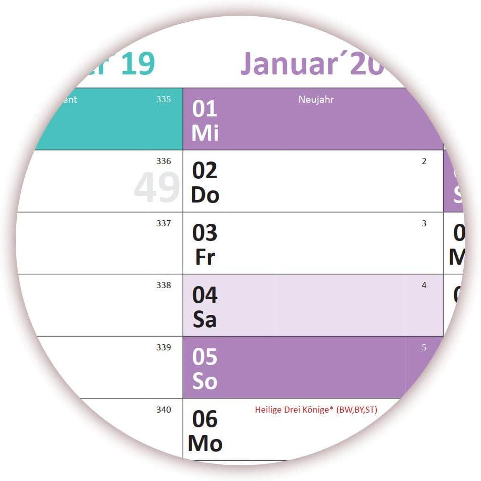 13 Monate Wandkalender Jahreskalender werden gerollt versendet Folienstift schwarz Schuljahreskalender 2019//20 DIN B1 Kalender gerollt August 2019 bis August 2020 nass abwischbar