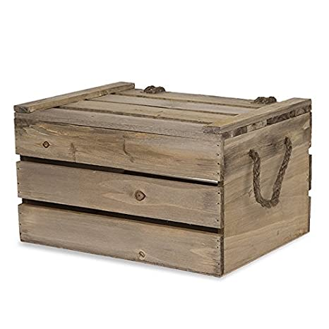 Amazoncom Wooden Crate Storage Box With Lid Antique Light Brown