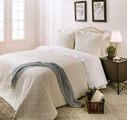 - Elegant Life Reversible Natural Linen Cotton Solid Diamond Stitched Quilt - Queen 90'' x 95'', Ivory