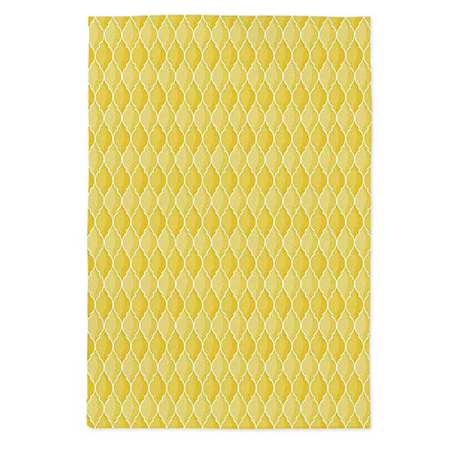 Yellow Decor Custom Tablecloth,Quatrefoil Moroccan Themed Oval Geometric Ombre Pattern Artwork for Home & Office & Restaurant Table Tea Table,70.1''W X 84''L