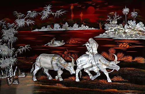 "Vietnamese Lacquer Painting - Mother of Pearl- Boy and Water Buffalo- 16"" x 24"" - LPTF3"