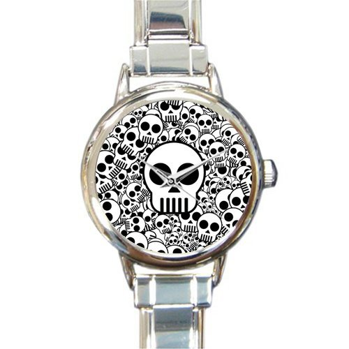 (Special Design Cute Skull Pattern Round Italian Charm Watch)