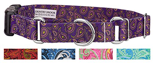 Country Brook Design | Purple Paisley Martingale with Deluxe Buckle - Large by Country Brook Design