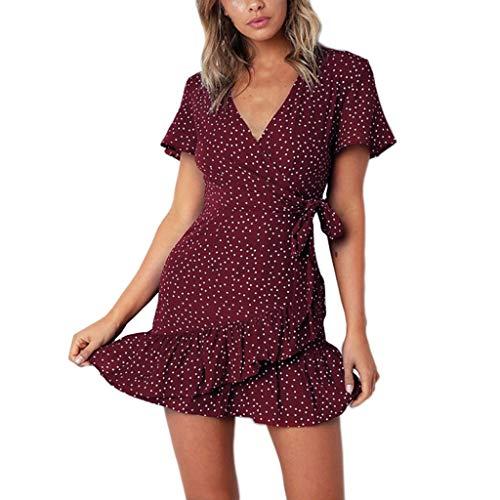 Women Dress, YQZB Women's Floral Print Round Neck Sleeveless Long Maxi Casual Dress Red