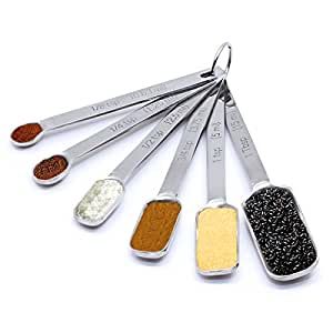 BRIESLY Professional Grade Stainless Steel Measuring Spoons - Set of 6 for Measuring Dry and Liquid Ingredients