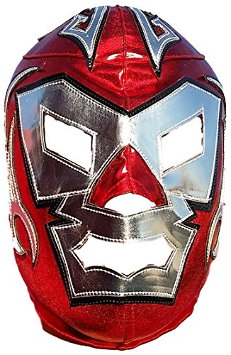 [Dr. Wagner High Quality Lycra Lucha Libre Luchador Mask Adult Size Red Silver] (Custom Wrestling Costumes)