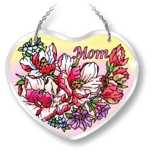 - Amia Beveled Glass Suncatcher Hand-Painted Heart Shape, Mom with Floral Design, 5 by 4-1/8-Inch