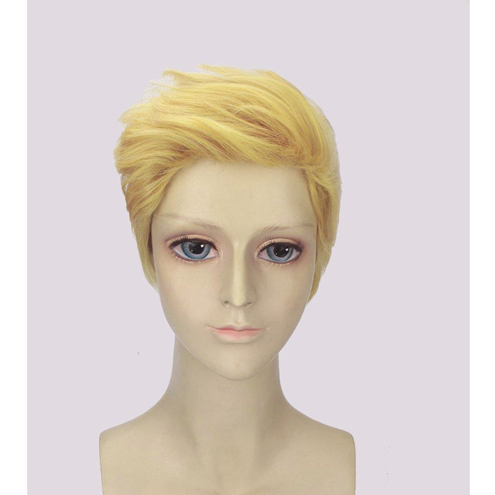 BERON Men Boys Short Blonde Cosplay Wigs-Rose Intranet