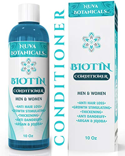 Nuva Botanicals Biotin Conditioner For Hair Growth - Natural Thickening Treatment For Hair Loss and Thinning - Stimulate Thicker Regrowth - Sulfate Free & Paraben Free - For Women and Men